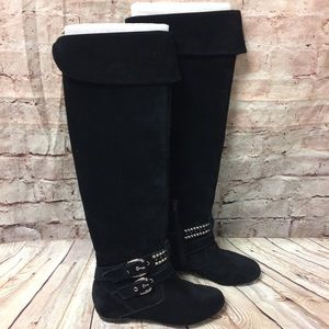 BCBG Christina Black Suede Tall Boots  Size 7